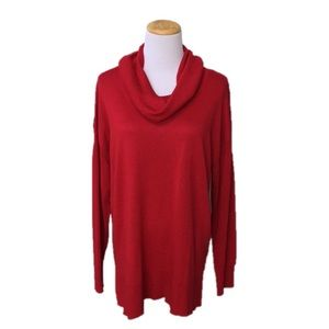 Cable & Gauge Red Cowl Neck Drop Shoulder Sweater